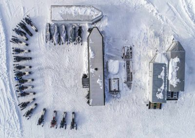 aerial view of snowmobiles